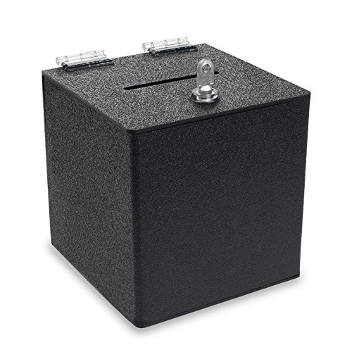 Source One BLACK Cube Donation Box with Cam Lock Suggestion Registration Raffle Bin (8 Inch) ()
