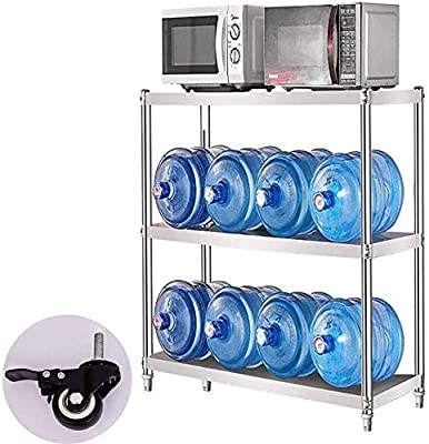 Soporte de microondas con ruedas, estantería de acero inoxidable ...