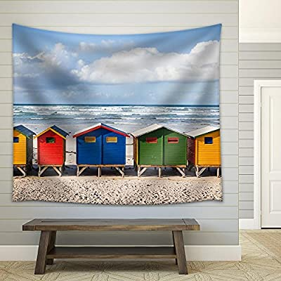 Row of Brightly Colored Huts in Muizenberg Beach Muizenberg Cape Town South Africa Fabric Wall, Original Creation, Pretty Technique