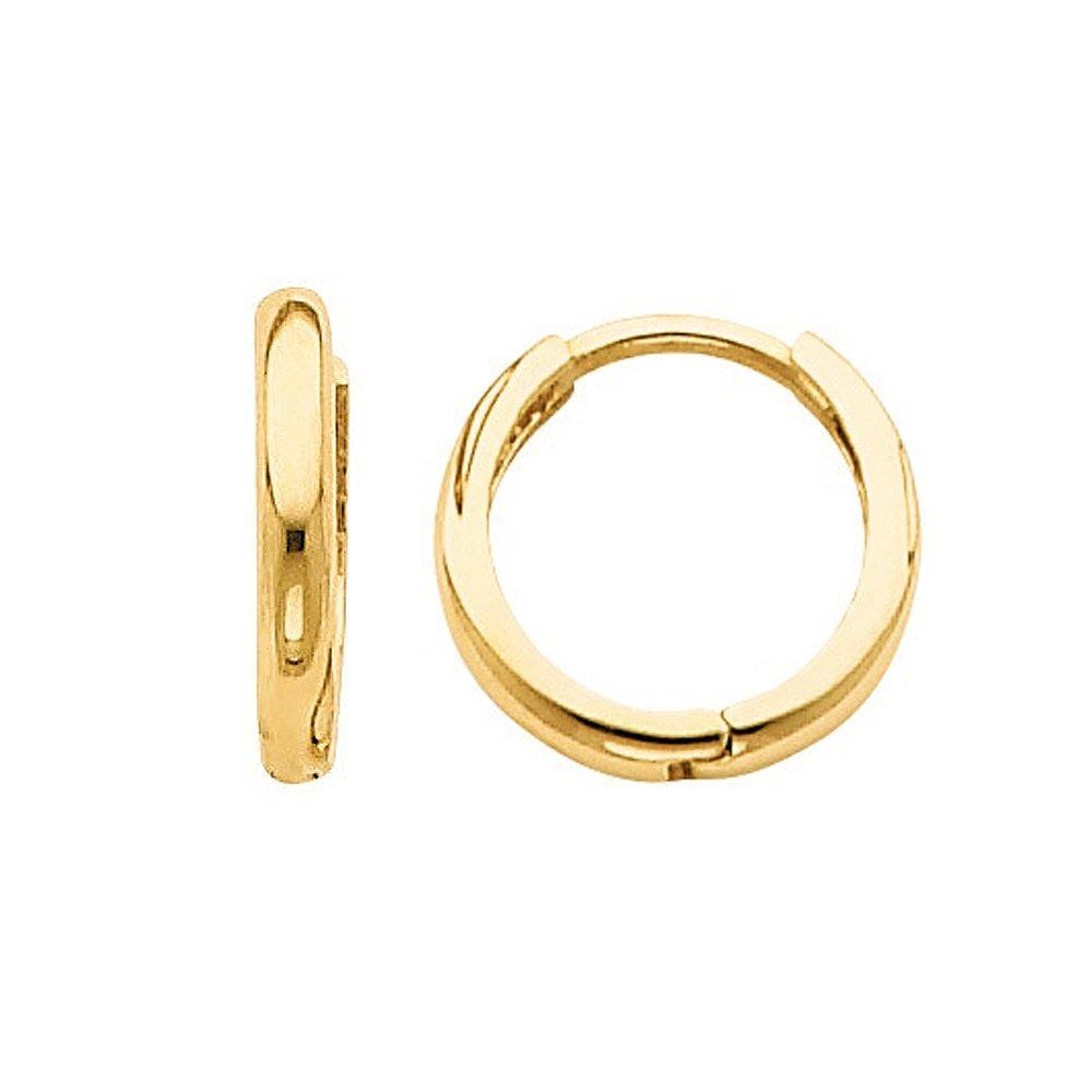 14k Yellow Gold 10-mm Thin Hinged Hoop Earrings