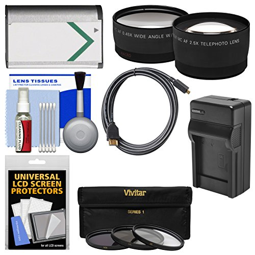 Essentials Bundle for Sony Cyber-Shot DSC-RX1, RX1R, RX1R II Digital Camera with NP-BX1 Battery & Charger + HDMI Cable + Tele/Wide Lenses + 3 UV/ND8/CPL Filters Kit by Precision Design