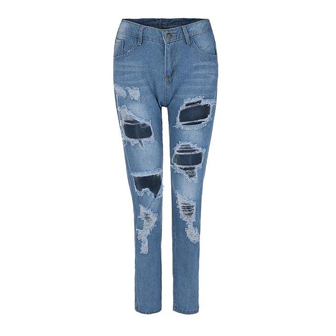 Moda Mujer Pantalones Vaqueros Denim Hole Mujer Cintura Alta ...