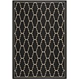 Safavieh Courtyard Collection CY6016-266 Black and Beige Indoor/Outdoor Area Rug (4′ x 5'7″)