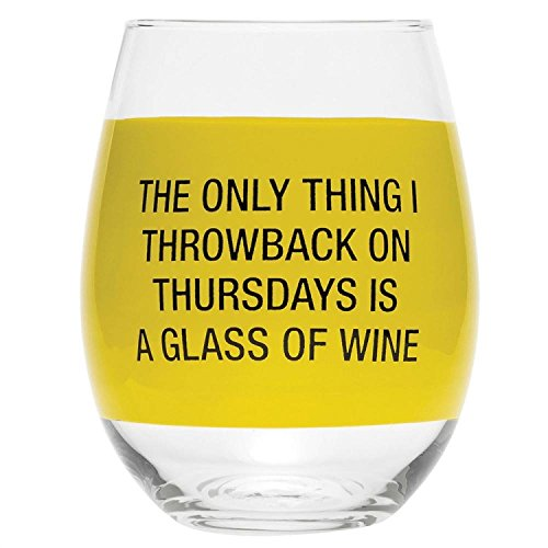About Face Designs Throwback on Thursday Stemless Wine Glass, Clear (Glass Design Celebration Wine)