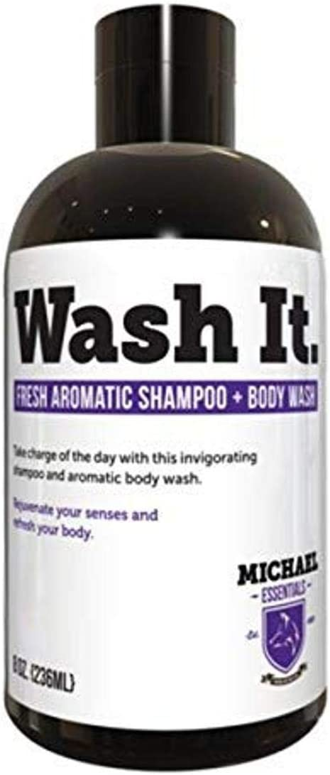 Mens Aromatic Shampoo & Body Wash Combo – Pro Vitamin B5 and Essential Oils. Soothing for Sensitive Scalp & Skin, Amazing Peppermint and Lemon Aroma to get you up in the Morning