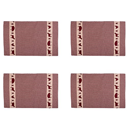 Cow and Pig Country Plaid 13 x 19 Cotton Embroidered Appliqued Placemats Set of ()