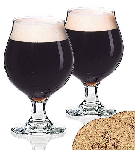 2 Libbey Beer Glasses Belgian Style Stemmed Tulip - 16 oz Lambic Ale Dark Beer Glass - set of 2 w/coasters - Classic Premium Glassware - Birthday Housewarming Bachelor party gift for men idea