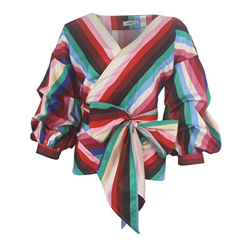 (AOMEI Women Spring Summer Blouses with Puff Sleeve Sashes Shirts Peplum Tops Rainbow Stripe Size XXL)