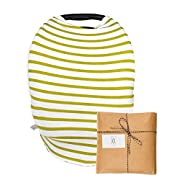 Baby Breastfeeding and Car Seat Cover – Multi-Use Infant Carrier Canopy and Nursing Cover – Great for Protection While Breast Feeding - (Gold Stripe Pattern)