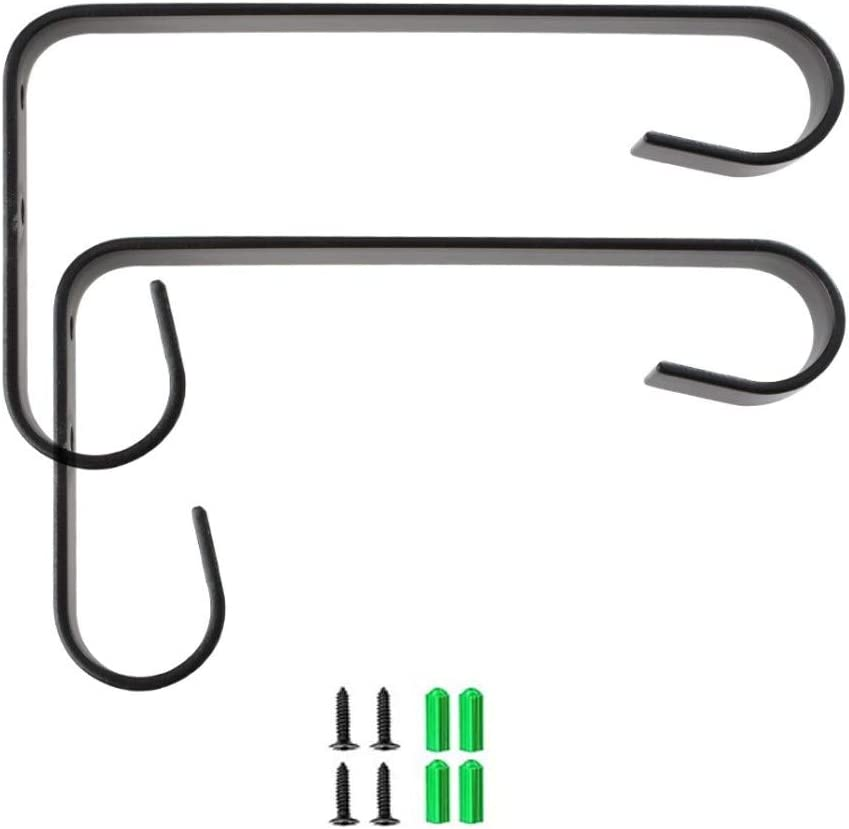 2 Pack Double Hooks Iron Wall Hanger Plant Bracket Decorative for Hanging Plants,Bird Feeders,Wind Chimes,Indoor Outdoor,6.6 inch