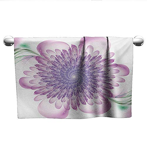 Hypnotic Violet - Bensonsve Flowered Spires,Digital Floral Harmonic Spirals with Flourish Hypnotic Vision Petals Dreamlike Print,Violet,Hanging Towel Rack for Bathroom