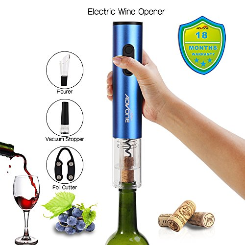 Electric Wine Opener Cordless Battery Powered Foil Cutter Vacuum Stopper Pourer Premium Accessories(BLUE) by ADVONE