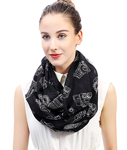 Lina & Lily Vintage Camera Print Loop Infinity Scarf for Women Lightweight (Black)
