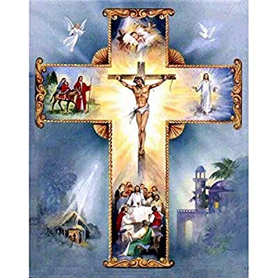 Faraway Christian Cross Jesus Religious Christ 5d DIY Round Diamond Painting by Number Kits Picture Kids Love Paint Diamond Embroidery Kits Mosaic Painting for Wall Decor 12X16inch