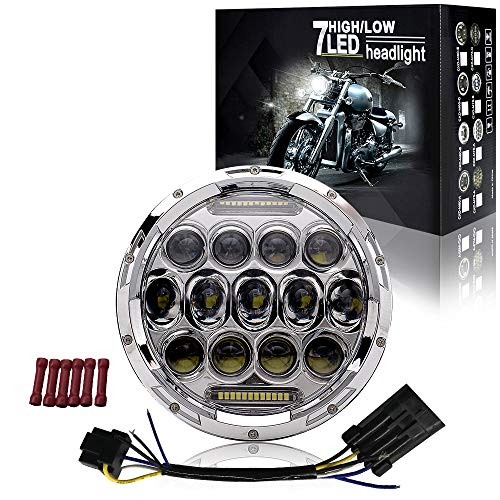 7 inch LED Headlight DOT Approved DRL Light Headlamp Kit for Harley Davidson Touring Ultra Classic Electra Street Glide Rod FatBoy Heritage Softail Slim Deluxe Switchback Road King Motorcycle