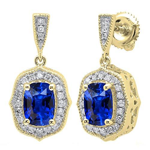 18K Yellow Gold 7X5 MM Each Cushion Blue Sapphire & Round White Diamond Ladies Drop Earrings