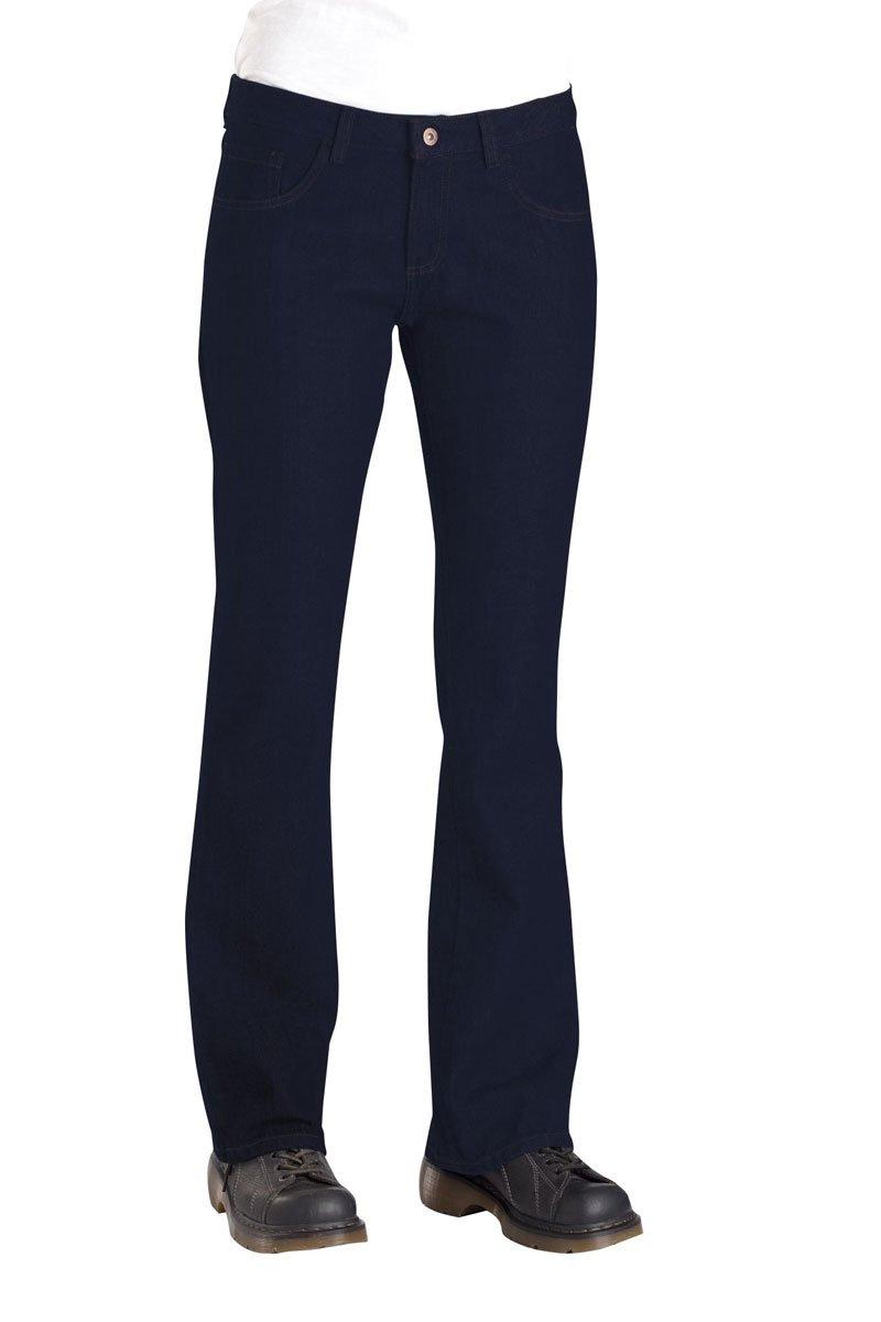 Dickies Occupational Workwear FD231RNB 12 P Denim Cotton Relaxed Fit Women's 5-Pocket Jean with Boot Cut Leg, 12 Petite, 28 Inseam, Indigo Blue 28 Inseam
