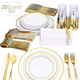 FineDining Gold Plastic Silverware Set - Premium Quality Disposable Utensils - 140 Pieces -20 Forks, 20 Spoons, 20 Knives, 20 Cups, 20 Dinner Plates, 20 Salad Plates - Heavyweight Plastic Dinnerware