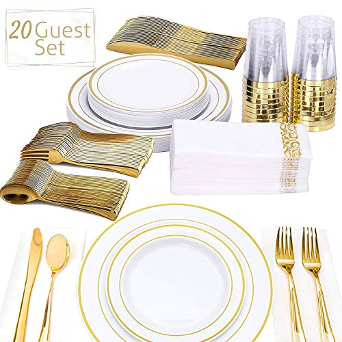 FineDining Gold Plastic Silverware Set - Premium Quality Disposable Utensils - 140 Pieces -20 Forks, 20 Spoons, 20 Knives, 20 Cups, 20 Dinner Plates, 20 Salad Plates - Heavyweight Plastic -