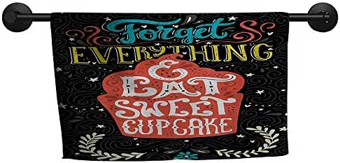 QIAOQIAOLO Modern Towel Quote Forget Everything and Eat Sweet Cupcake Phrase with Doodle Floral Ornaments Print Quick Drying Multicolor,W31 x L63