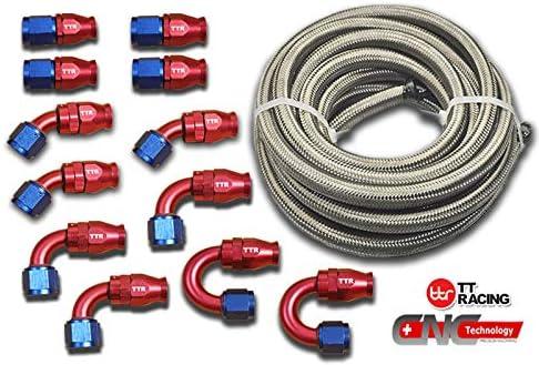 -6 AN6 PTFE Swivel Fittings + Stainless Steel Fuel Line Hose Kit E85 30FT PTFEAN6_KIT_XL 51dnAXhx0rL