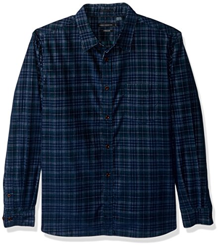 French Connection Men's Corduroy Essentials Shirt, Forest Tartan, S