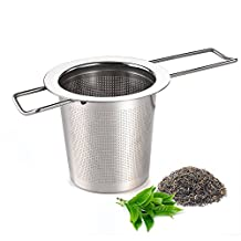 AUSTOR Tea Infuser Stainless Steel Tea Strainer Steeper Filter with Folding Handle for Loose Leaf Grain Tea Cups, Mugs, and Pots