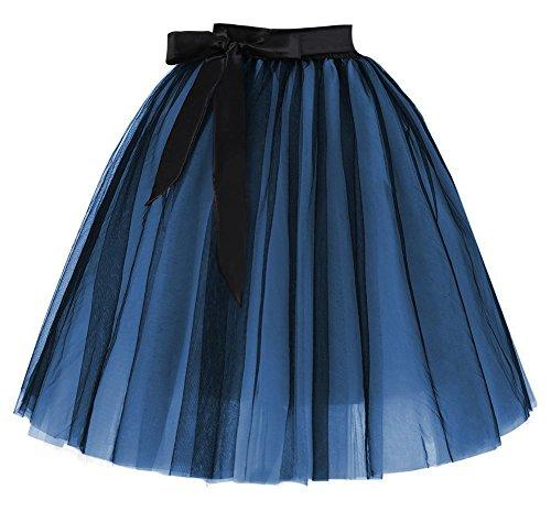 Facent Femmes 65cm 6 Couches Longueur Genou Tutu Tulle Jupons Noir/Bleu