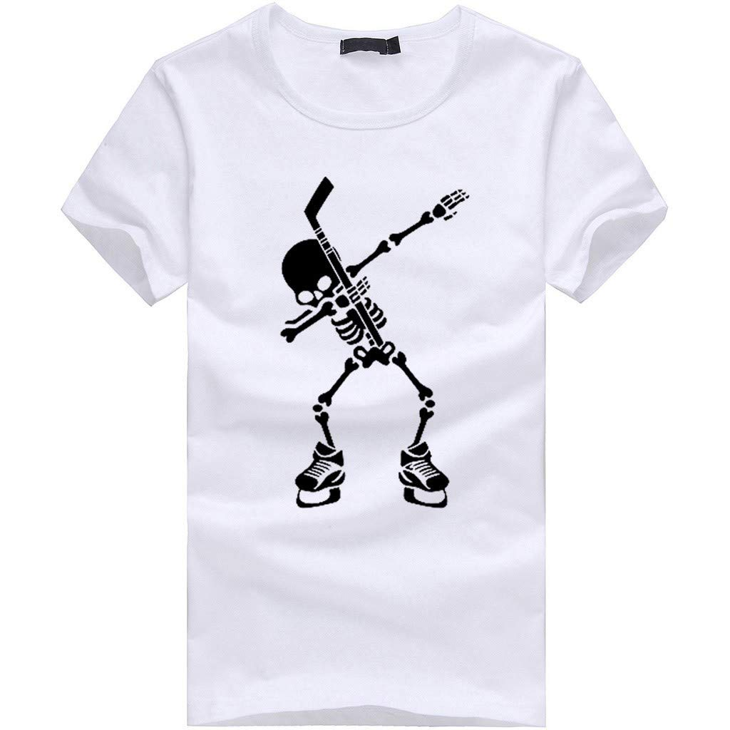 Gibobby Mens T Shirts,Casual Skull Graphic Funny Print Short Sleeve O-Neck Tees Cotton Tops T-Shirts for Summer White
