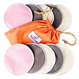 Washable Nursing Pads 10 Pack (Organic Bamboo) + Laundry & Travel Bag + Free Breastfeeding & Sleeping Guide. Feel Safe With Softest Reusable Breast Pads by BabyVoice (Medium, white-grey-pink)