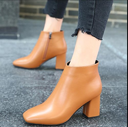 KHSKX-The Korean Version Of The Brown 7.5Cm Square Head Thick With High-Heeled Boots Winter New Side Zip Sleek And Versatile Women Shoes Women Shoes Tide 38 rSCVClb