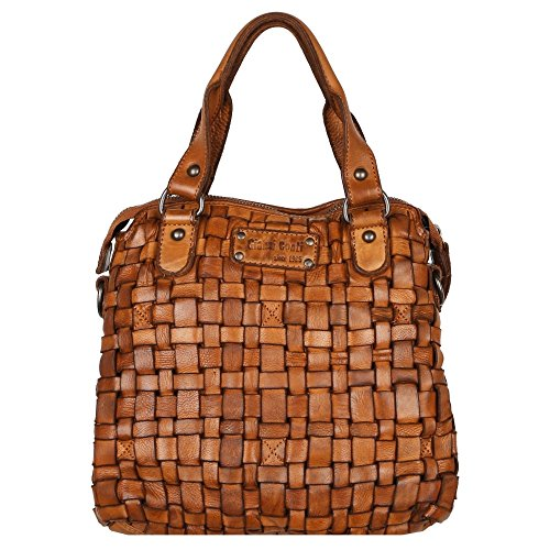 Womens Leather Cognac Gianni Conti Woven Pavia Weave Grab Bag PwfERqf