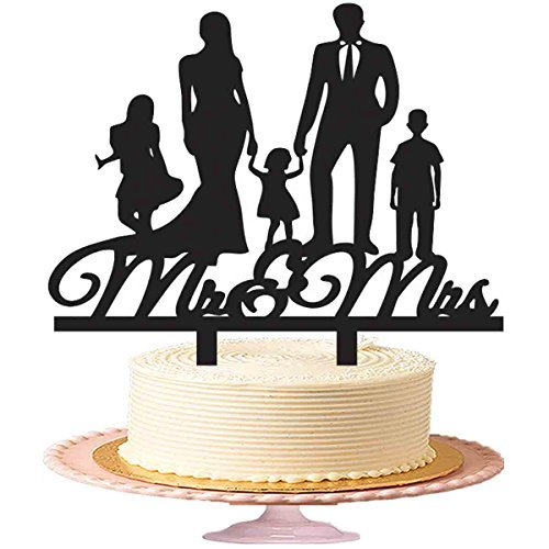 Wedding Cake Toppers Mr & Mrs,Family Wedding Cake Toppers Couples With Their 3 Children, Acrylic Cake Topper Black