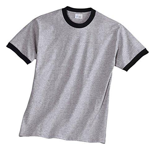 Port & Company Men's Ringer T Shirt M Athletic Heather/Black