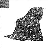 quilt sqaure - Black and White Digital Printing Blanket Stripes Sqaures Summer Quilt Comforter 62