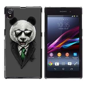 iKiki-Tech Estuche rígido para Sony Xperia Z1 L39H - Classy Panda & Sunglasses Illustration
