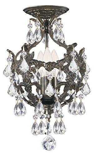 Legacy 3 Light Clear Swarovski Strass Crystal Bronze Mini Chandelier