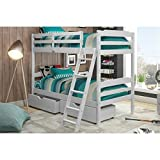 Manhattan Comfort Hayden 4.0 Collection Solid Pine Wood Twin Size Convertible Children's Bunk Bed Set with Storage Drawers, Twin, Matte White
