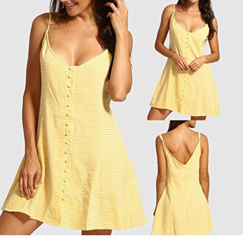 Mujer Vestido Dos S Largos Casual Vestido sin DOGZI sin Vestidos Verano Casual XXL Vestidos Espalda Fiesta Vestidos 2018 Dots Mangas Largos Mujer de Amarillo Mujer Button Verano Vestidos Mujer Bxqdw0qF