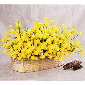 Foraineam 10 Bundles Yellow Daffodils Artificial Flowers Fake Plants Plastic Bushes Greenery Shrubs Fence Indoor Outdoor Hanging Planter Home Garden Decor 4
