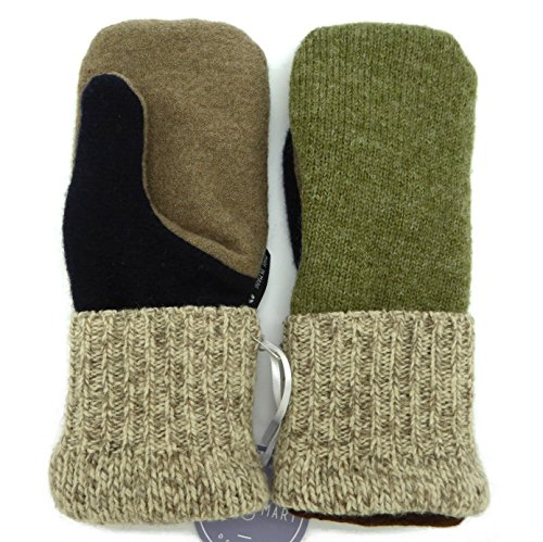 Jack & Mary Designs Handmade Mens Fleece-Lined Wool Mittens, Made from Recycled Sweaters in the USA (Wheat/Tan/Green, OneSize)