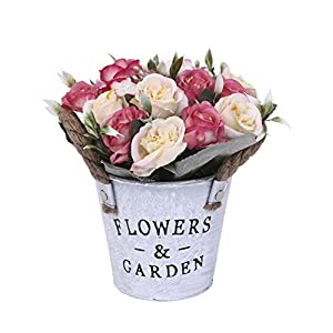 Charmly Artificial Flowers Potted European Style Design Silk Rose Arrangements House Office Restaurant Table Centerpieces Windowsill Decor Rose-Pink 2