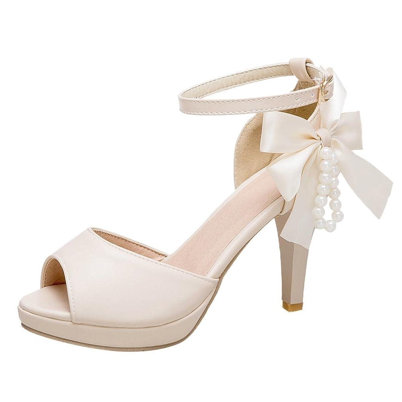 UH Damen High Heels Ankle Strap Peep Toe Sandalen Plateau Pumps mit Perlen und Schleife Hochzeit Braut Schuhe RxXQKdfa