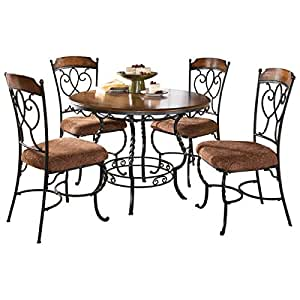ashley d316225 nola round dining set with four chairs tubular metal inlaid veneer. Black Bedroom Furniture Sets. Home Design Ideas