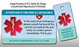 Medical ICE Alert In Case of Emergency I.D. Identification Plastic Wallet Card and Keytag (Qty. 1)