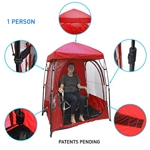 EasyGoProducts CoverU Sports Shelter - 1 Person Weather Tent Pod (RED) - Patents Pending (Cover Agitator)