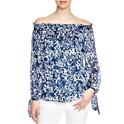 WAYF New Womens BLUE Floral Print CHIFFON OFF-THE-SHOULDER Blouse Top SZ S NEW ()