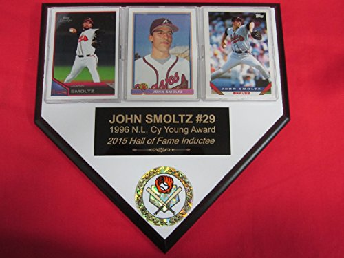 John Smoltz Braves 3 Card Collector HOME PLATE Plaque EXCLUSIVE DESIGN to AMAZON!