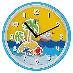 "Silent 10"" Large Starfish Nursery Non Ticking Wall Clock for Kids | Nautical Wall Decor I Silent Sweep Operation | Quartz Clocks for Children Nursery/ Preschool/ Playroom/ Boys & Girls Bedroom"