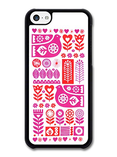 Flower Heart Birds Pink and Red Pattern case for iPhone 5C